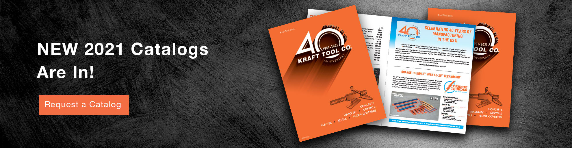 2021 Kraft Tool Catalog graphic celebrating 40 years