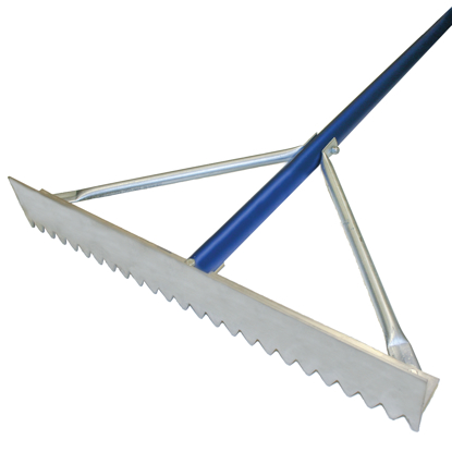 "Picture of 30"" Magnesium Asphalt Rake with 7' Blue Handle"