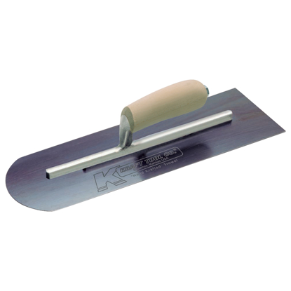 "Picture of 16"" x 4"" Round Front/Square Back Blue Steel Cement Trowel with Camel Back Wood Handle"