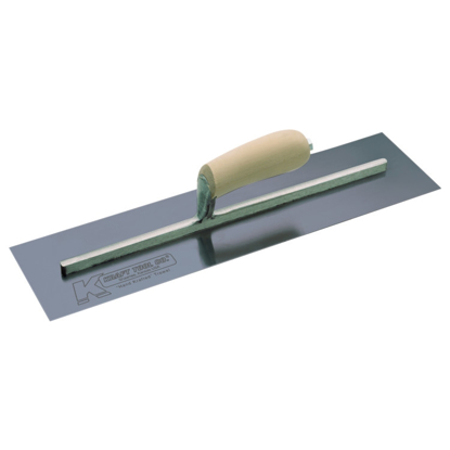 "Picture of 14"" x 4"" Blue Steel Cement Trowel with Camel Back Wood Handle"