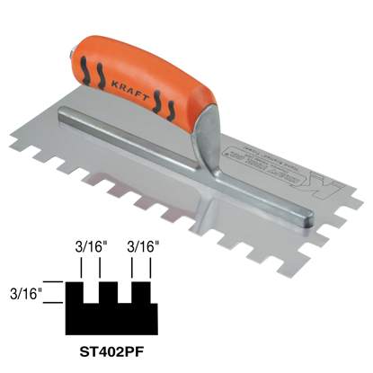 "Picture of 3/16"" x 3/16"" x 3/16"" Square-Notch Trowel with ProForm® Handle"