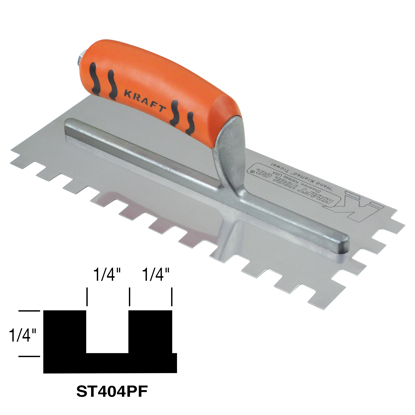 "Picture of 1/4"" x 1/4"" x 1/4"" Square-Notch Trowel with ProForm® Handle"