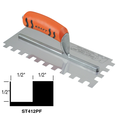 "Picture of 1/2"" x 1/2"" x 1/2"" Square Notch Trowel with ProForm® Handle"