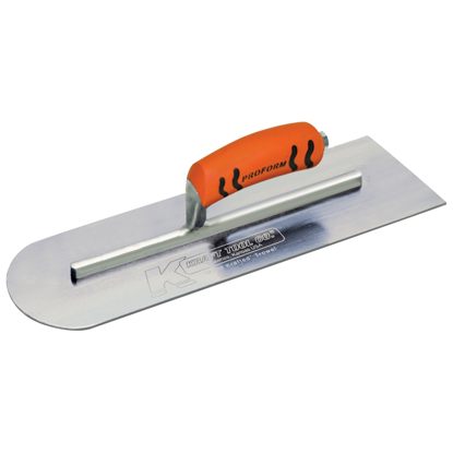 "Picture of 18"" x 4"" Round Front/Square Back Carbon Steel Cement Trowel with ProForm® Handle"