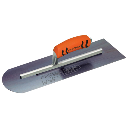 "Picture of 16"" x 4"" Round Front/Square Back Blue Steel Cement Trowel with ProForm® Handle"