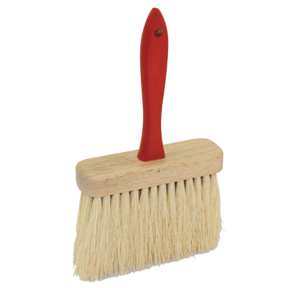 "Picture of 6-1/2"" x 2"" Jumbo Utility Brush with Tampico Fiber Bristles and Red Wood Handle"