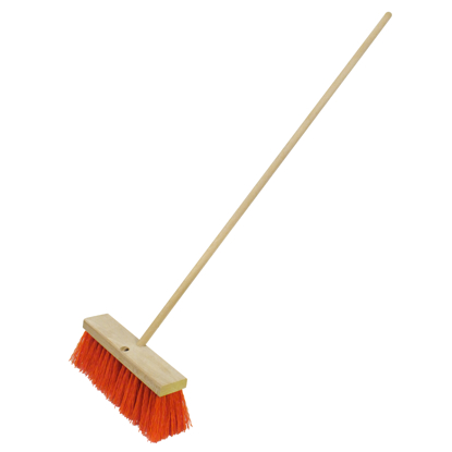 "Picture of 18"" Heavy-Duty Orange Sweeping Broom with Handle"
