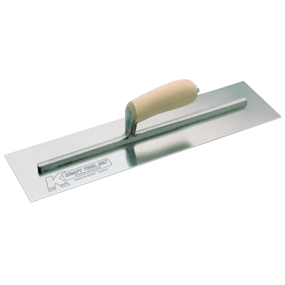 "Picture of 10"" x 3"" Carbon Steel Cement Trowel with Camel Back Wood Handle"