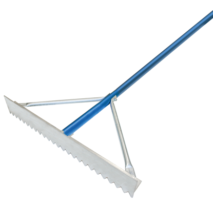"Picture of 24"" Magnesium Asphalt Rake with 7' Blue Handle"
