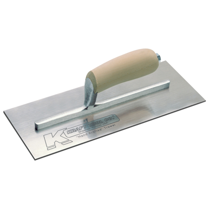 "Picture of 10-1/2"" x 4-1/2"" Swedish Stainless Steel Finish Trowel with Camel Back Wood Handle"