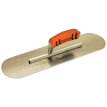 "Picture of 10"" x 3"" Golden Stainless Steel Pool Trowel with a ProForm® Handle on a Short Shank"