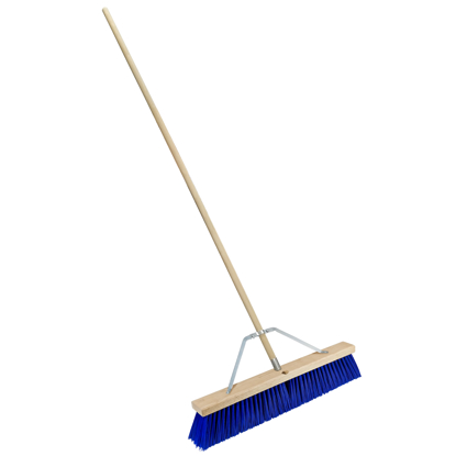 "Picture of 24"" Blue Poly Floor Broom with Handle"